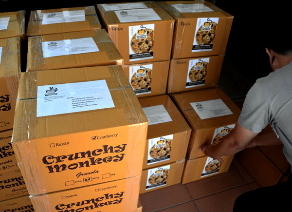 Cartons of granola ready to ship